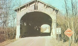 Wright Bridge - Built 1883 near Farmland over west fork of White River. Destroyed by fire in 1966. Picture contributed by Debbie Manning Grubbs.