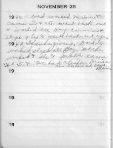 Diary Nov 25
