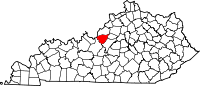 Map of Kentucky with Bullitt County in Red. Henry Burl Stevens was born in Bullitt County.